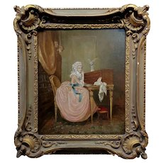 19th century French Mistress writing a love Letter -Oil painting