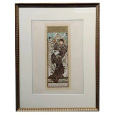 Alphonse Mucha 1898 Lorenzaccio -Original 19th century Lithograph