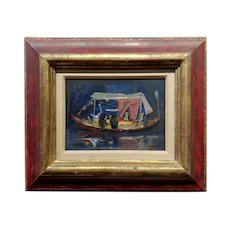Louis Bosa 1960s Party Boat at Night - Oil painting