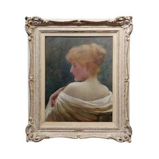 Frank Markham Skipworth Portrait of a young Red Headed Woman -Oil painting-c1900s