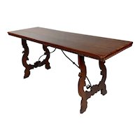19th century Spanish colonial Walnut & Iron Trestle Table