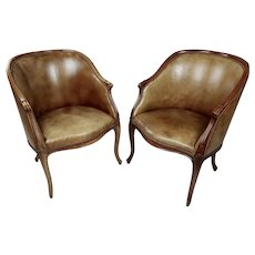 George III style Mahogany Library Tab Chairs Leather Upholstered -A Pair