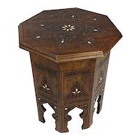 Vintage Syrian Moorish Octagonal Tabouret Side Table w/Carved Islamic