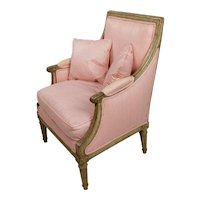 Louis XVI 18th century Child Bergere Chair w/Pink pinstriped Upholstery