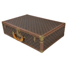 Louis Vuitton Original 1940s Hard Leather Monogram Suitcase