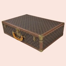 Louis Vuitton Original 1940s Hard Leather Monogram Suitcase