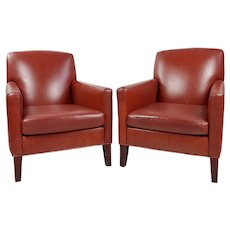 Philippe Starck Art Deco Club Chairs Ostrich Leather Red -a Pair