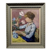Marcel Dyf French Post impressionist Claudine dealing w/Flowers -Oil painting