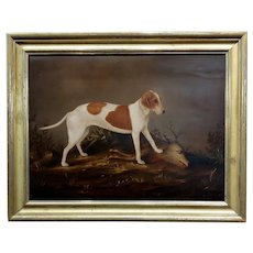 Hunting Dog & a killed Deer -American Folk Art 18th century Oil Painting