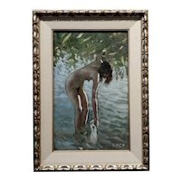 Pal Molnar - Nude Female Bathing at the Lake - Oil painting