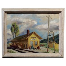 John Anderson Gorham 1938 Ojai CA Train Station -Oil Painting