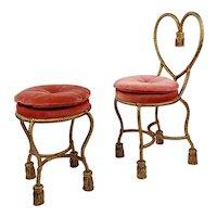 Phyllis Morris Vintage Gilt Rope Tassel Vanity Chair & Stool