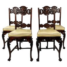 19th century Reinassance Revival Head carved Dining Chairs -Set of 4