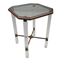 Mid Century Modern Lucite & Brass Coppered side Table Stand