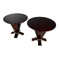 Italian Art Deco Mahogany & Chrome Side Tables -a Pair