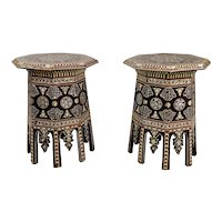 Syrian Vintage Octagonal Side Tables mother of pearl inlaid- a Pair