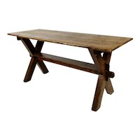 19th century Antique Farm Trestle Table