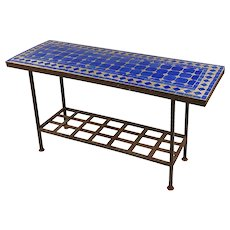 Antique Spanish Mosaic Blue Tile Top & Wrought Iron Garden Console table