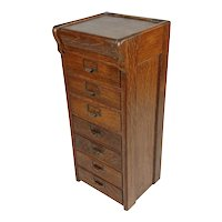 Antique 1930s Oak Mini Filing Cabinet for letters w/7 drawers