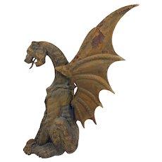 Antique Heavy Cast Iron Winged Gargoyle Figure