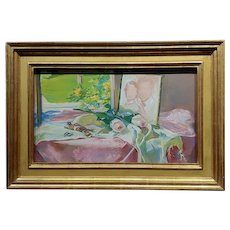 Gerald David Rahm -Still Life of Pink Roses & Photo by the Window - Painting