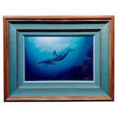 Robert Wyland Dolphin & her Baby -Pacific Home 1990-Original Oil painting
