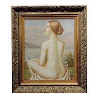 Adrián Pérez Pulido 1970 Nude Female by a Beach in Barcelona-OIl painting