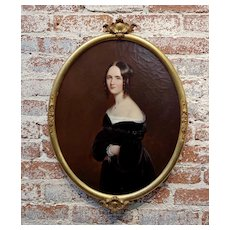 19th century Portrait of a Beautiful Aristocratic young Lady-Oil painting