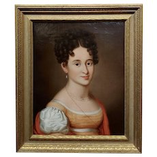 Early American School-Portrait of a young Lady w/a Pearl Neckless-Oil painting
