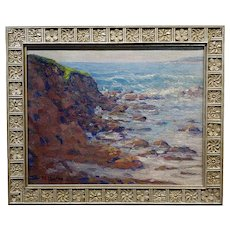 John William Bentley - Carmel Rocky Seascape - Oil painting