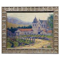 John William Bentley - California Mission - Oil painting -c1920s