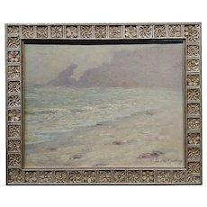 John William Bentley - Monterey Beach foggy morning -Oil painting -c1920s