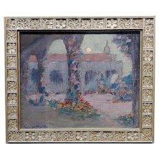 John William Bentley-Moonlight at Mission Capistrano-Oil painting -c1920s