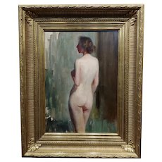 Emil Fuchs 1915 American Impressionist Portrait of a Nude Female -Oil painting