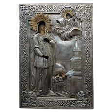 18th century Elaborate Silver Russian Icon of St.Barbara-Oil painting