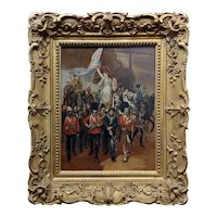 Goddess Britannia & British Empire Warriors in a Parade-1887 Oil painting