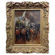 Goddess Britannia & British Empire Warriors in a Parade-1887 Oil painting