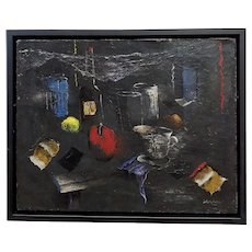 Howard Warsaw The Red Apple on a Kitchen Table- Still Life Oil painting-c1950s