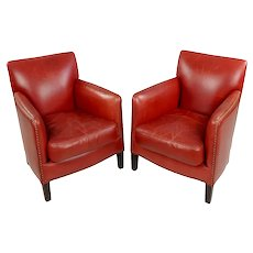Fabulous Vintage Red Leather upholstered Lounge Chairs - a Pair