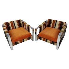 Milo Baughman 1970s vintage Upholstered chrome Chairs -a Pair