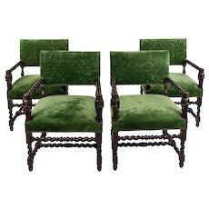 Fabulous Renaissance Jacobean Arm Chairs w/Green velvet Upholstery-Set of 4