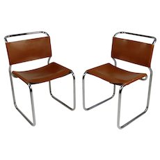 Nicos Zographos CH66 Vintage Chrome & Brown Leather Chairs -a Pair
