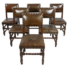 Spanish Revival Brown leather upholstered Dining Chairs-Set of 6