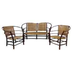 Antique 1920s Bentwood Settee and Chairs -Salon set of 3  Settee