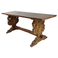 19th century highly carved Ram Trestle Table