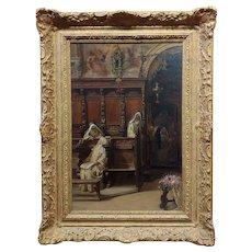 Francesco Bergamini -The Convent -19th century Oil painting