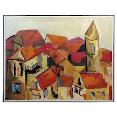 Fay Singer Beautiful California Red Roofs -Expressionist Oil painting
