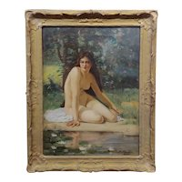 Ray Crowder 19th c. Nude Nynph by a Pond of White Lotus -Oil painting