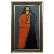 Jesus Leuus 1965 Minimalist Mother in Red - Oil painting