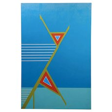 Jack Justice 1960s Abstract composition of Geometric Hard Edge - Oil painting